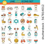 fitness and health flat line... | Shutterstock . vector #567814012