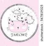 pretty cat head vector drawing | Shutterstock .eps vector #567819325