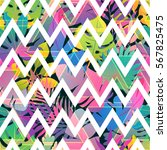 zigzag strips on colorful... | Shutterstock .eps vector #567825475