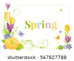 flower frame isolated white... | Shutterstock .eps vector #567827788