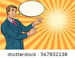 businessman points right to... | Shutterstock .eps vector #567832138