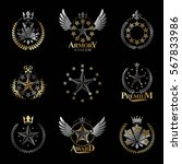 stars emblems set. heraldic... | Shutterstock .eps vector #567833986