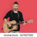 men musician play guitar... | Shutterstock . vector #567837082