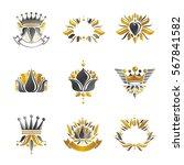 royal symbols  flowers  floral... | Shutterstock .eps vector #567841582