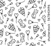doodles cute seamless pattern.... | Shutterstock .eps vector #567843496