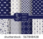 seamless nautical themed... | Shutterstock .eps vector #567848428