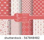 seamless nautical themed... | Shutterstock .eps vector #567848482