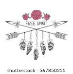 hand drawn boho style design... | Shutterstock .eps vector #567850255