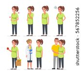 pregnant woman character set.... | Shutterstock .eps vector #567852256