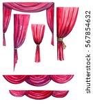 curtain watercolor. | Shutterstock . vector #567854632