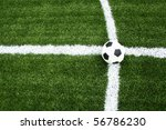 soccer on intersection line - stock photo