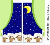 cute sheep stare out the window ... | Shutterstock .eps vector #567873112