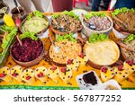 traditional local food on... | Shutterstock . vector #567877252