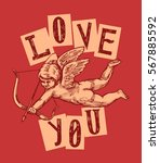 Love You Vintage Cupid With Bo...