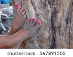 women's feet on beach | Shutterstock . vector #567891502