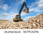 excavator unload gravel. the... | Shutterstock . vector #567914296