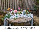 wedding decorations. flowers ... | Shutterstock . vector #567915856