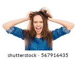angry sad young woman with...   Shutterstock . vector #567916435