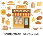 bakery set icons with bread... | Shutterstock .eps vector #567917266