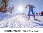 nordic ski skier on the track... | Shutterstock . vector #567917662