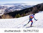 nordic ski skier on the track... | Shutterstock . vector #567917722