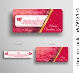 vector set of greeting card for ... | Shutterstock .eps vector #567918175
