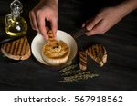 cheese testing with oil and... | Shutterstock . vector #567918562