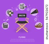 cinema and filming concept with ... | Shutterstock .eps vector #567922672