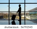 silhouette of man with luggage... | Shutterstock . vector #56792545