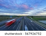sunrise at m1 motorway with... | Shutterstock . vector #567926752