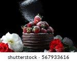 Chocolate Cake With Strawberry...