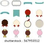 set of blank vintage frames.... | Shutterstock .eps vector #567953512