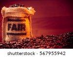 fairtrade coffee beans | Shutterstock . vector #567955942