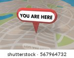 you are here map pin location...   Shutterstock . vector #567964732