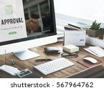approval word on business... | Shutterstock . vector #567964762