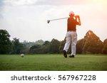 Golfers Men Player Golf Hit...