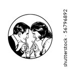 sharing a soda   retro clip art | Shutterstock .eps vector #56796892