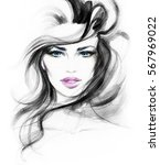 abstract woman face. fashion... | Shutterstock . vector #567969022
