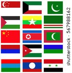 asia nation flag collection... | Shutterstock . vector #567988162