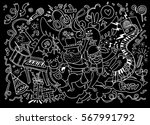 and drawing doodle vector... | Shutterstock .eps vector #567991792