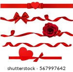 Stock vector holiday set of decorative red heart rose and bow with horizontal ribbon isolated on white 567997642
