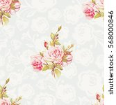 seamless floral pattern with... | Shutterstock .eps vector #568000846