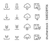 set of download icons in modern ... | Shutterstock .eps vector #568028956