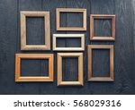 vintage frames on old wooden... | Shutterstock . vector #568029316