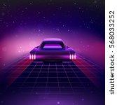 80s retro sci fi background... | Shutterstock .eps vector #568033252