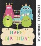 monster birthday party... | Shutterstock .eps vector #568038355