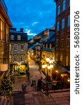 Small photo of QUEBEC CITY, CANADA - November 27, 2016: Rue du Petit-Champlain at Lower Old Town (Basse-Ville) at night - Quebec City, Quebec, Canada