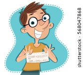 cartoon man showing his  100... | Shutterstock .eps vector #568047868