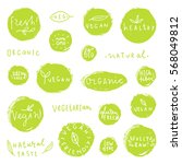 set of hand drawn food badges.... | Shutterstock .eps vector #568049812
