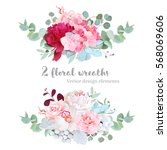 floral mix wreath vector design ... | Shutterstock .eps vector #568069606